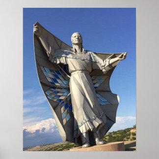 Poster Statue de femme de Natif américain