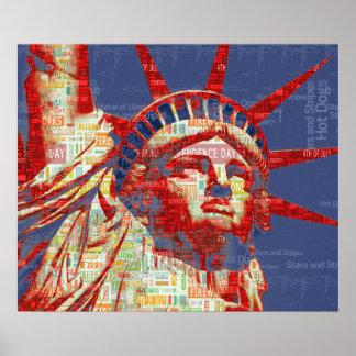 Poster Statue de la liberté avec 4 juillet le nuage de