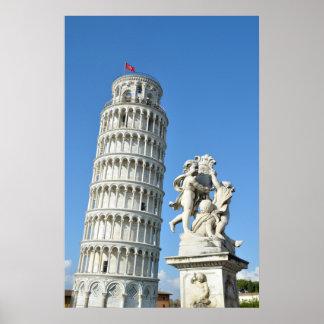 Poster Statue de Putti de dei de Fontana de tour penchée