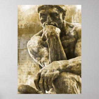 Poster Statue en bronze affligée Auguste Rodin le penseur