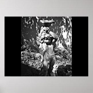 Poster Statue noire et blanche de jardin