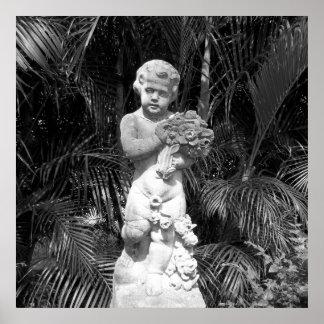 Poster Statue noire et blanche d'enfant de photo