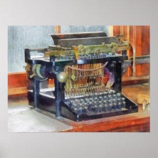 Poster Steampunk - machine à écrire vintage