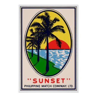 Poster Sunset Philippine Match Company, étiquette de Ltd