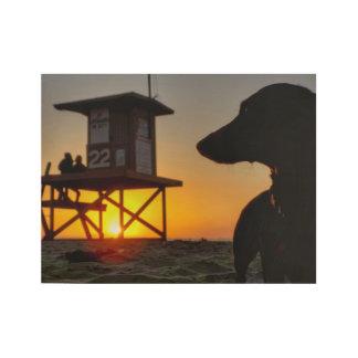 Poster Sur Bois Coucher du soleil de plage de Newport