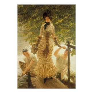Poster Sur la Tamise par James Tissot, réalisme vintage