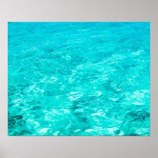 Poster Surface abstraite de l'eau bleue d'arrière - plan