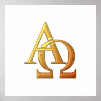 """Poster Symbole """"à trois dimensions"""" d'or alpha et d'Omega"""
