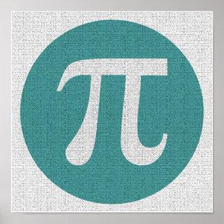 Poster Symbole du geek pi de maths, cercle bleu et
