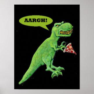 Poster T-Rex veut la pizza