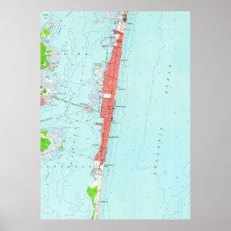 Poster Tailles vintages NJ Map (1953) de bord de la mer