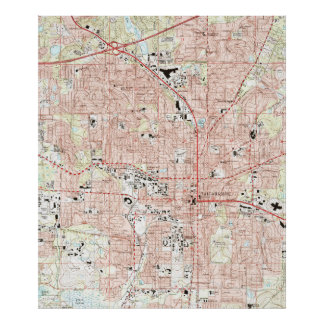 Poster Tallahassee la Floride Map (1999)