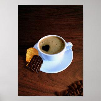 Poster Tasse de café de coeur - affiche