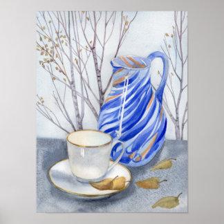 Poster Tasse de thé et pot bleu en octobre