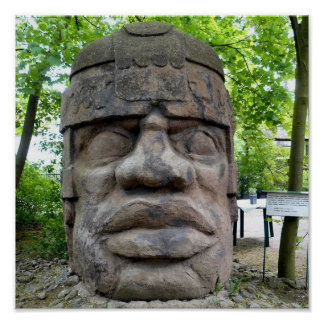 Poster Tête antique d'Olmec !