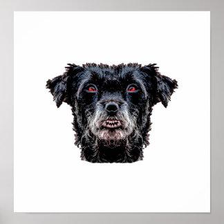 Poster Tête de chien noir de démon