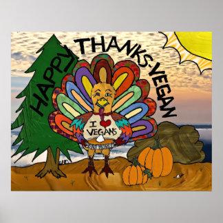 Poster Thanksgiving végétalien Turquie de mercis heureux