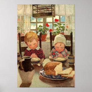 Poster Thanksgiving vintage, enfants reconnaissants