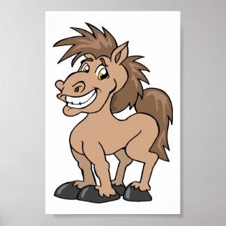 Poster Thème équin de sourire de cheval idiot de poney de