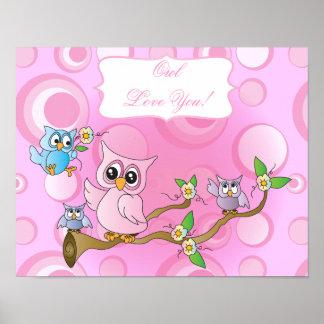 Poster Thème rose de crèche du hibou   de bébé