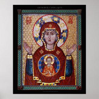 """Poster Theotokos icône de mosaïque """"de signe"""""""