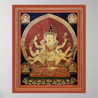 Poster Tibétain Thangka de Guhyasamaja Akshobhyavajra