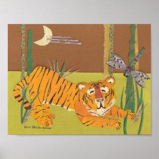 Poster Tigre avec la copie de collage d'art de libellule