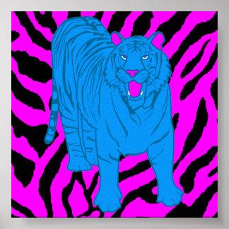 Poster Tigre de grognement du tigre 80s de Corey rétro