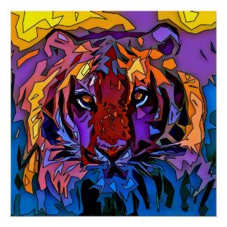 Poster Tigre de mosaïque