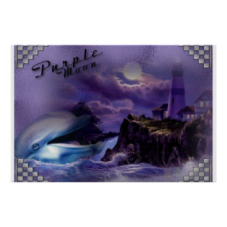 Poster toile Purple Moon dauphin