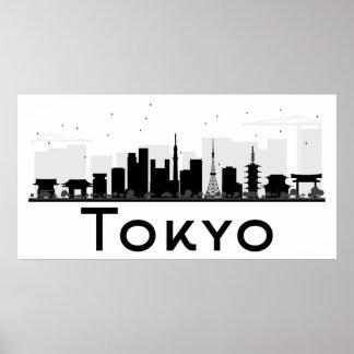 Poster Tokyo, Japon horizon noir et blanc de | de ville