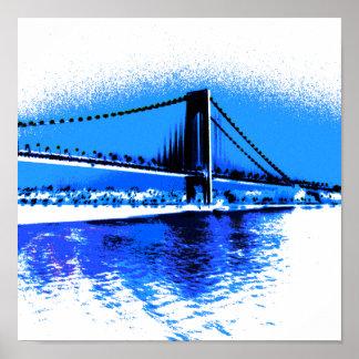 Poster Tonalités de copie de pont de bleus