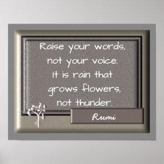 Poster Tonnerre et pluie - citation de Rumi -- Copie