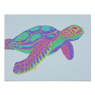Poster Tortue de mer colorée