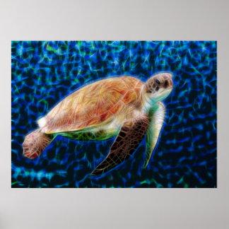Poster Tortue de mer verte Honu sur l'art bleu de