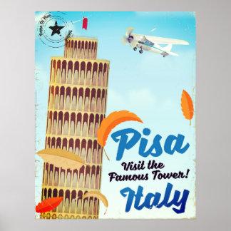 Poster Tour penchée de copie vintage de vacances de Pise