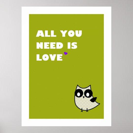 Poster tout que vous avez besoin est amour - affiche (le