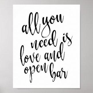 Poster Tout que vous avez besoin est amour et signe