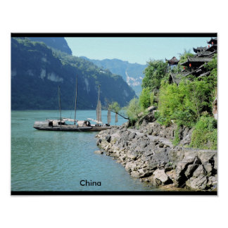 Poster Traditional ait chinese boat