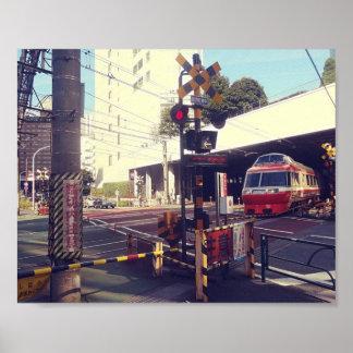 Poster Train croisant l'affiche du Japon