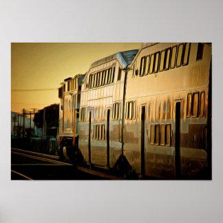 Poster Train de coucher du soleil