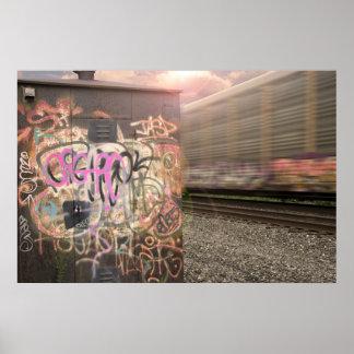 Poster Train de graffiti