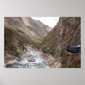 Poster Train de rail d'Inca à l'affiche de Machu Picchu