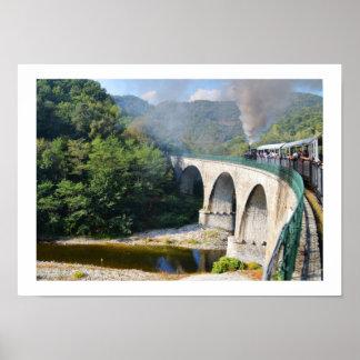 Poster Train de vapeur sur le pont