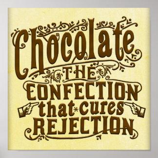 Poster Traitement drôle de rejet d'auteur de chocolat