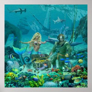 Poster Trésor du récif coralien de la sirène