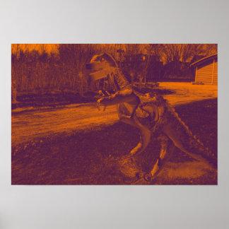 Poster trex de dinosaure en métal en parc