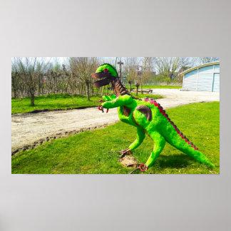 Poster trex de dinosaure en métal en photo de parc