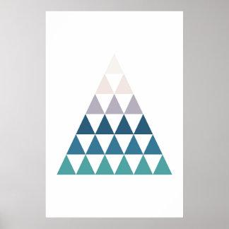 Poster Triangle moderne bleue d'impression. Art