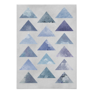 Poster Triangles bleues